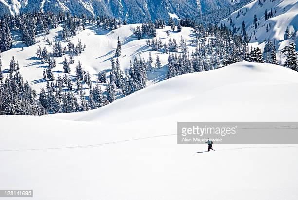 backcountry skier in the heather meadows recreation area. washington. usa - clima alpino foto e immagini stock