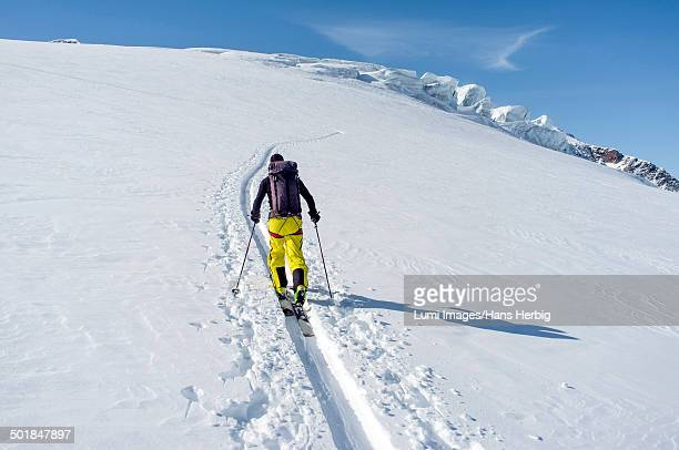 backcountry skier ploughing through snow, european alps, tyrol, austria - nordic skiing event stock pictures, royalty-free photos & images