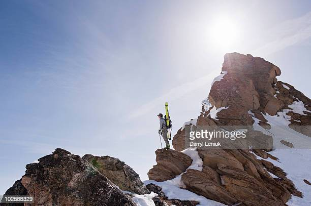 backcountry skier standing on summit