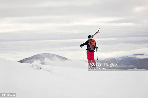 A backcountry skier takes in the view from Burnt Mountain, Maine.