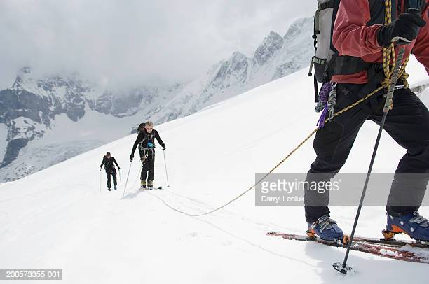 Backcountry skiers climbing slope, elevated view