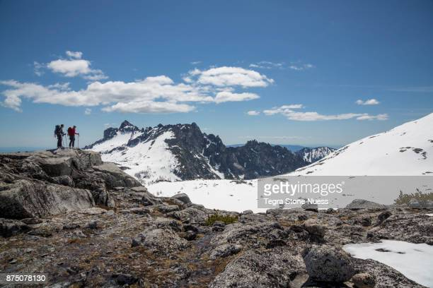 backcountry skiers in the enchantments - leavenworth washington stock photos and pictures