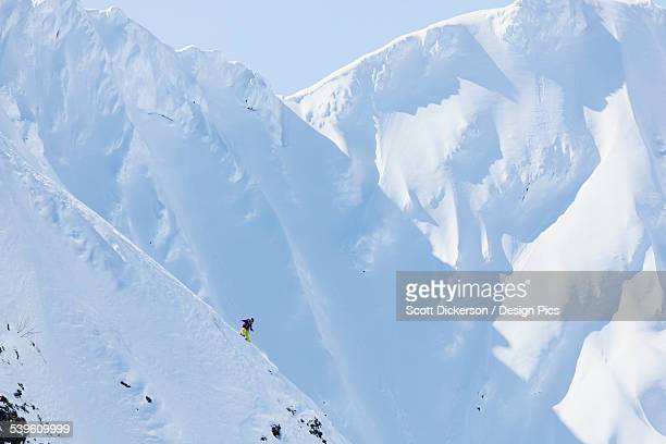 backcountry skiing in the chugach mountains in late winter - chugach mountains stock pictures, royalty-free photos & images