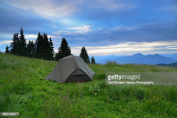 Backcountry tent camping in Bavarian Alps
