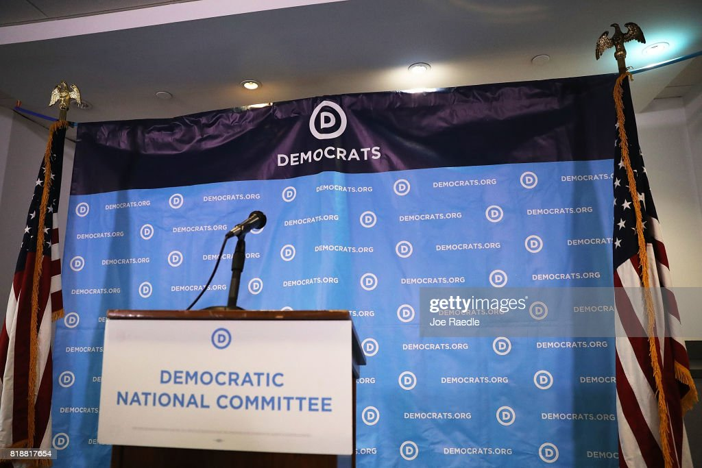 A backdrop is seen before the arrival of Rep. Joaquin Castro, (D-TX), Rep. Terri Sewell (D-AL), California Secretary of State Alex Padilla, Jason Kander, president of Let America Vote, and DNC Vice Chair Michael Blake for a press conference at the Democratic National Headquarters on July 19, 2017 in Washington, DC. The news conference was held 'to explain why the Trump administration's voter fraud commission was set up from the start to mislead the public and the steps that Democrats will take to fight back.