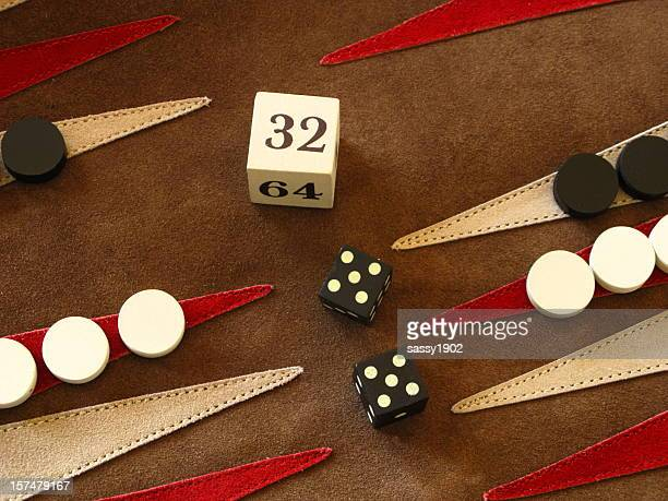 backgammon game board dice double cube - backgammon stock pictures, royalty-free photos & images