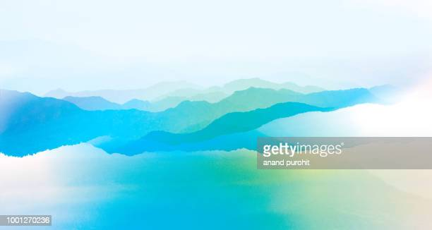 background abstract misty mountain range colourful wallpaper digital art gradiant pastel dramatic backdrop - illustration stock pictures, royalty-free photos & images