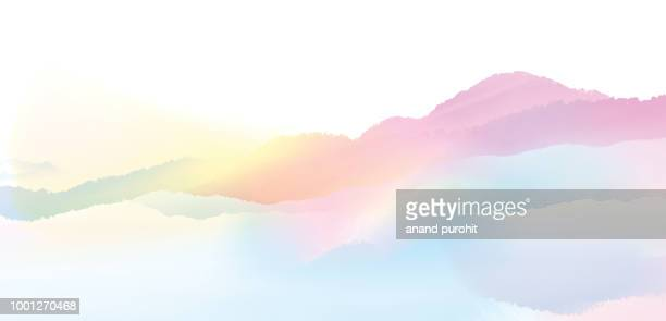 background abstract misty mountain range colourful wallpaper digital art gradiant pastel dramatic backdrop - aquarellhintergrund stock-fotos und bilder