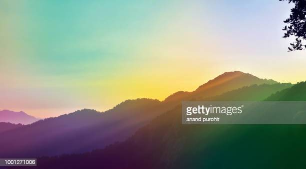 background abstract misty mountain range colourful wallpaper digital art gradiant pastel dramatic backdrop - human artery stock photos and pictures