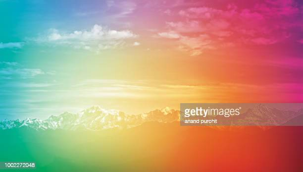 background abstract misty mountain range colourful wallpaper digital art gradiant pastel dramatic backdrop - science and technology stock pictures, royalty-free photos & images