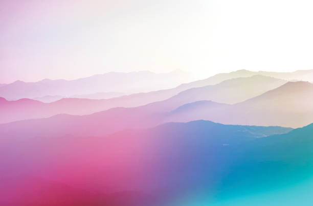 background abstract misty mountain range colourful wallpaper digital art gradiant pastel dramatic backdrop - horizontal stock pictures, royalty-free photos & images