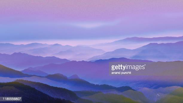 background abstract misty mountain range colourful wallpaper digital art gradiant pastel dramatic backdrop - paisajes de india fotografías e imágenes de stock