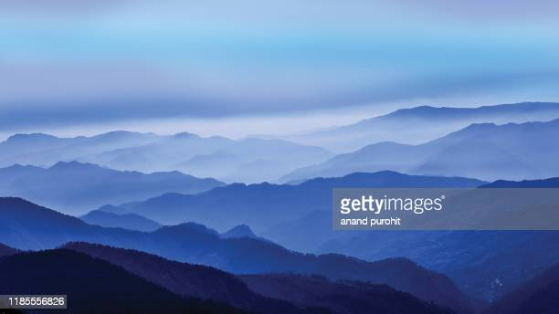 background abstract misty mountain range colourful wallpaper digital art gradiant pastel dramatic backdrop - mountain range ストックフォトと画像