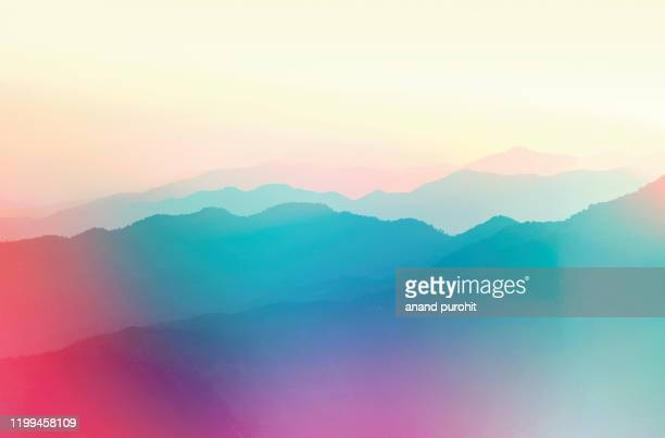 background abstract misty mountain range colourful wallpaper digital art gradiant pastel dramatic backdrop - positive emotion stock pictures, royalty-free photos & images