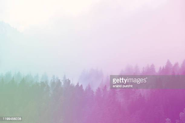 background abstract misty mountain range colourful wallpaper digital art gradiant pastel dramatic backdrop - purity stock pictures, royalty-free photos & images