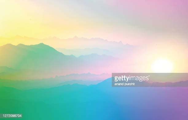 background abstract misty mountain range colourful wallpaper digital art gradiant pastel dramatic backdrop - anticipation ストックフォトと画像