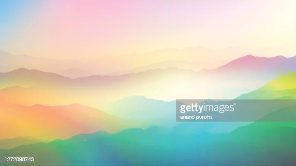 background abstract misty mountain range colourful wallpaper digital art gradiant pastel dramatic backdrop - south asia stock pictures, royalty-free photos & images