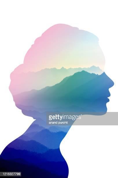 background abstract misty mountain range women head colourful wallpaper digital art gradient pastel dramatic - 純真 ストックフォトと画像
