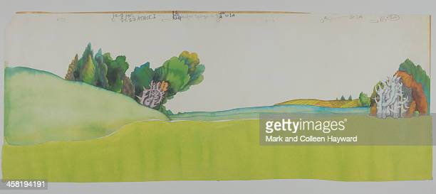 Background animation cell of a landscape from the 1968 Beatles film Yellow Submarine