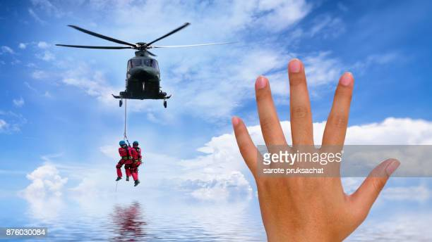 Background concept for Rescue helicopter in mission sea rescue .