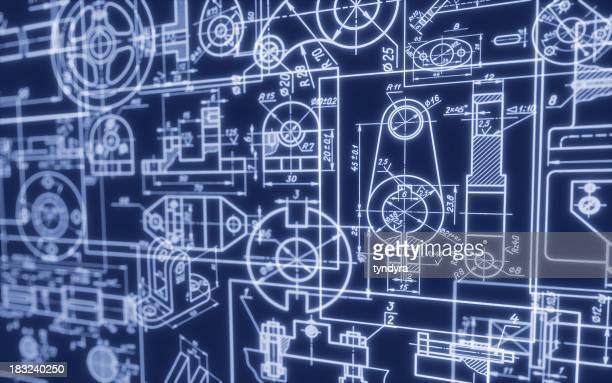Background featuring industrial machine blueprints