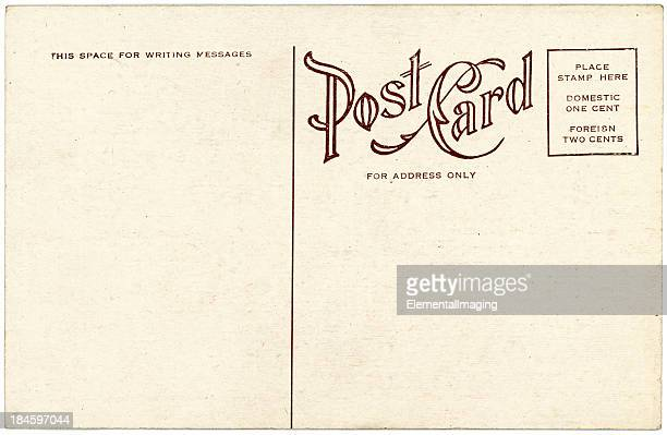 background image of a blank beige vintage back of a postcard - postcard stock pictures, royalty-free photos & images