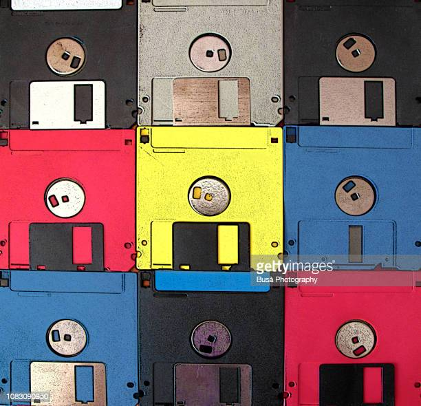 background made of vintage colored floppy disks - 1990~1999年 ストックフォトと画像