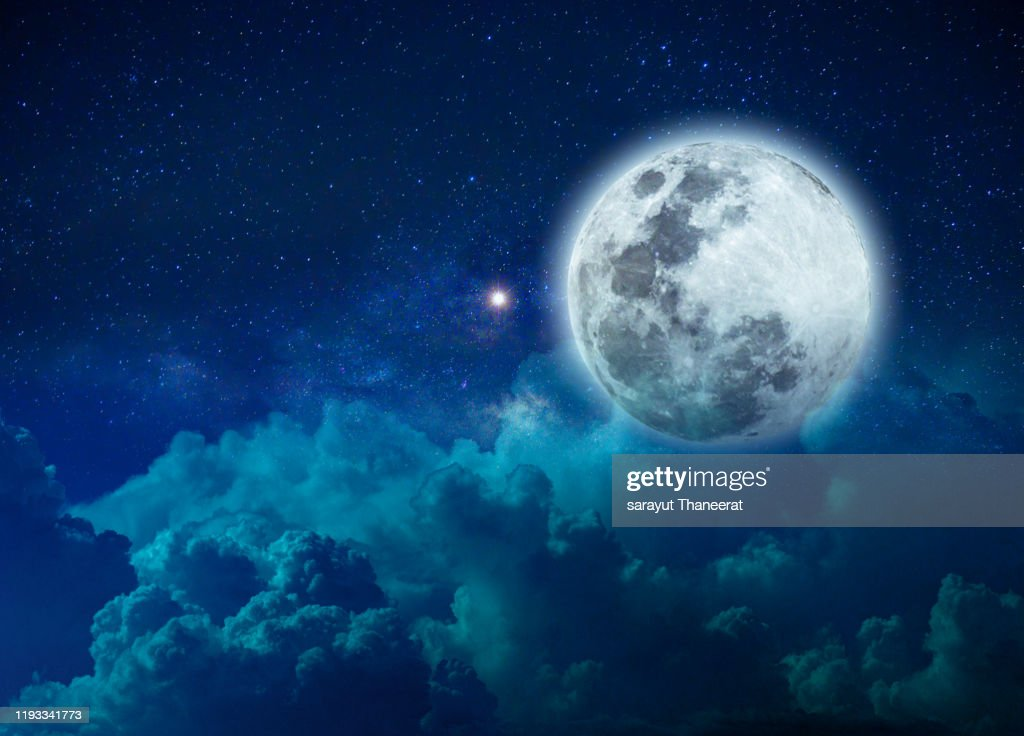 background night sky with stars moon and clouds Blue sky : Stock Photo
