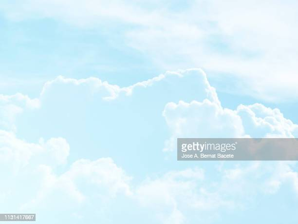 background of a sky of blue soft color with white clouds. - cloud sky stock pictures, royalty-free photos & images