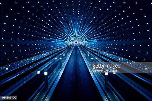 background of abstract architecture of tunnel - illuminated stock pictures, royalty-free photos & images