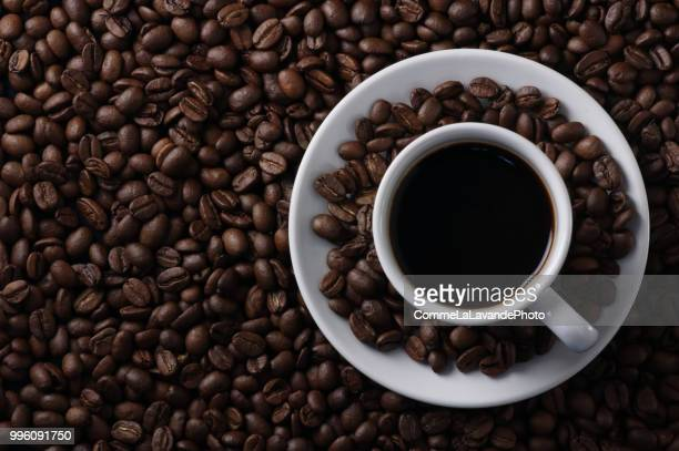 Background of coffee cup and coffee beans