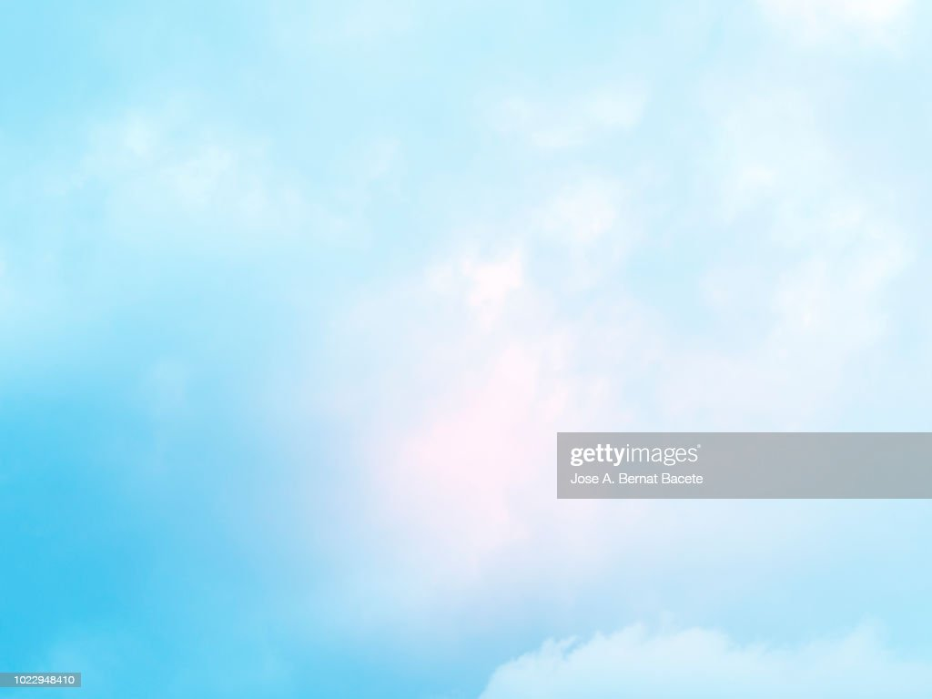 Background of forms and abstract figures of smoke and steam of colors on a white and soft blue background. : Stock Photo