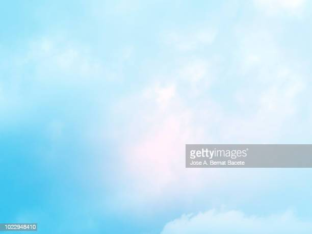 background of forms and abstract figures of smoke and steam of colors on a white and soft blue background. - cielo foto e immagini stock