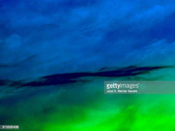 background of forms and abstract figures of smoke and steam of colors on a blue and green background. - green background stock pictures, royalty-free photos & images