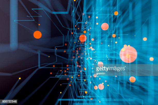 background of glowing abstract lines and spheres - information equipment stock pictures, royalty-free photos & images