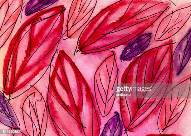 Background of hand painted and illustrated leaves