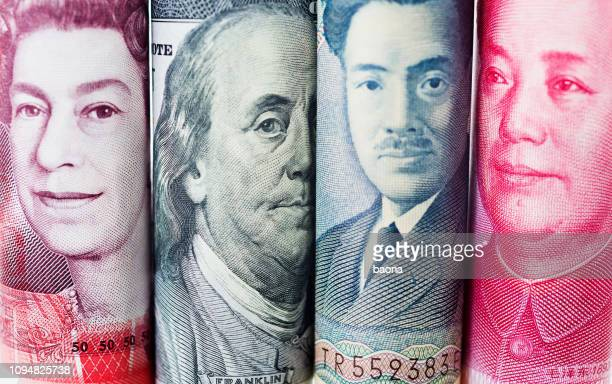 background of international currency notes - fifty pound note stock pictures, royalty-free photos & images