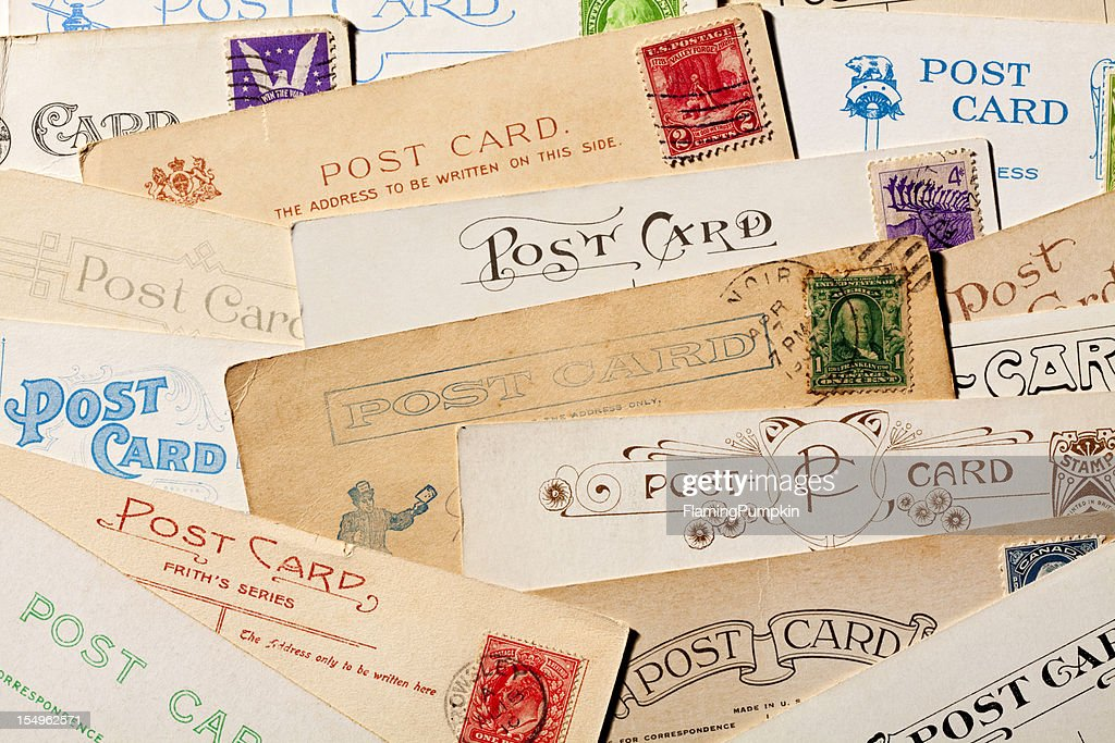 Background of Old, Blank Postcards. Full Frame, XXXL : Stock Photo