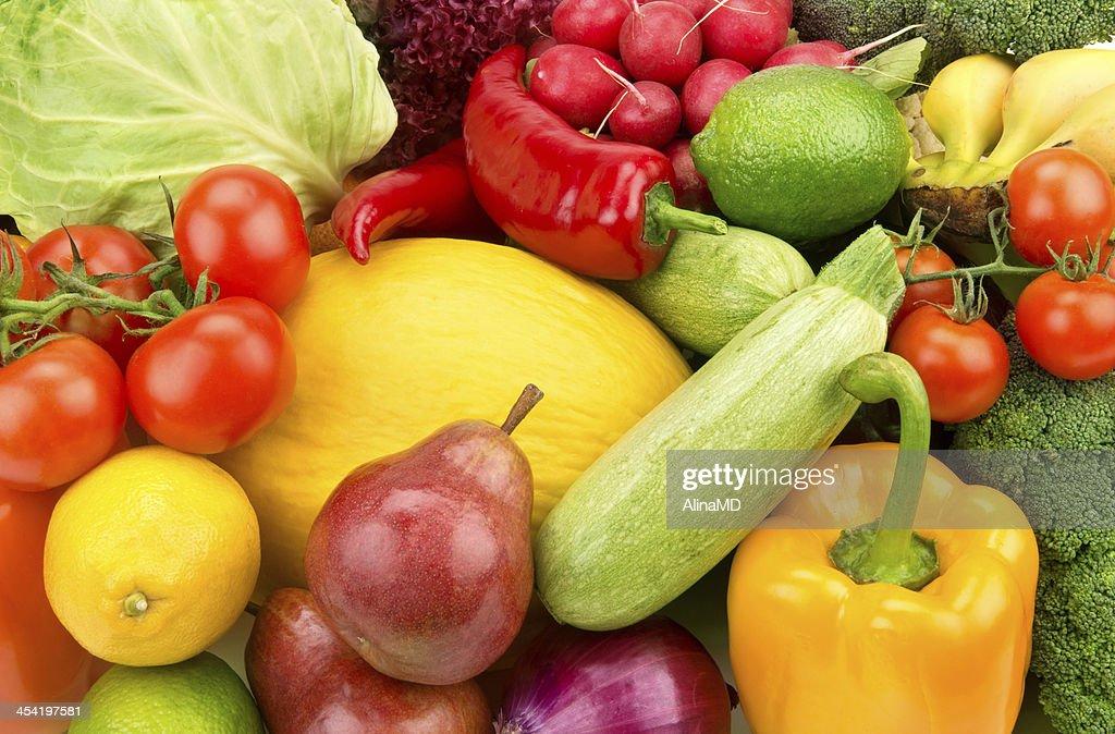 Fondo de las frutas y de las verduras maduras : Foto de stock