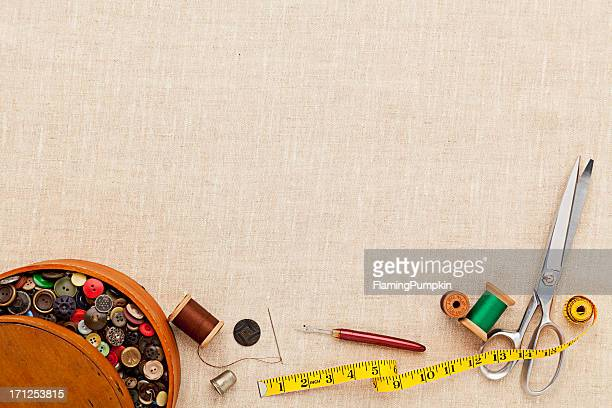 Background of Sewing Items. Full Frame, Copyspace.