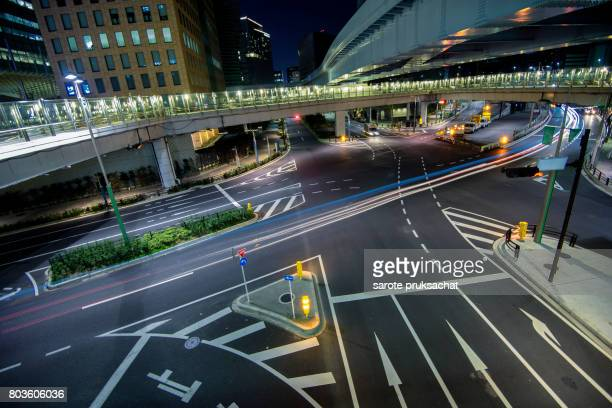 background of Street city in Tokyo Japan .