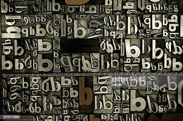 A background of the letter b in many fonts and directions.