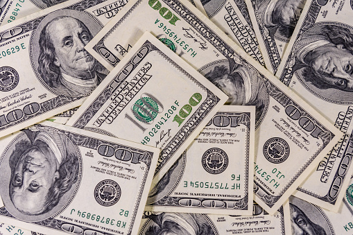 Background of the many american one hundred dollar banknotes 1160534857