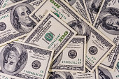 Background of the many american one hundred dollar banknotes