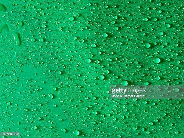 Background of water drops on a surface of green color