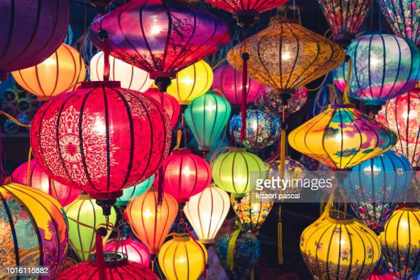 background picture of multi colored chinese lanterns in night - 中国提灯 ストックフォトと画像