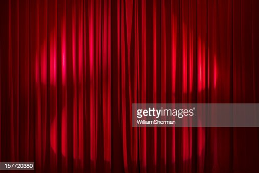 Backgrounds Red Velvet Stage Curtains Stock Photo