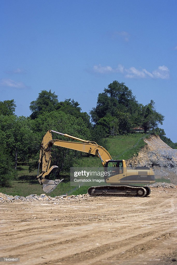 Backhoe on construction site : Stockfoto