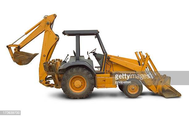 backhoe side view - earth mover stock pictures, royalty-free photos & images