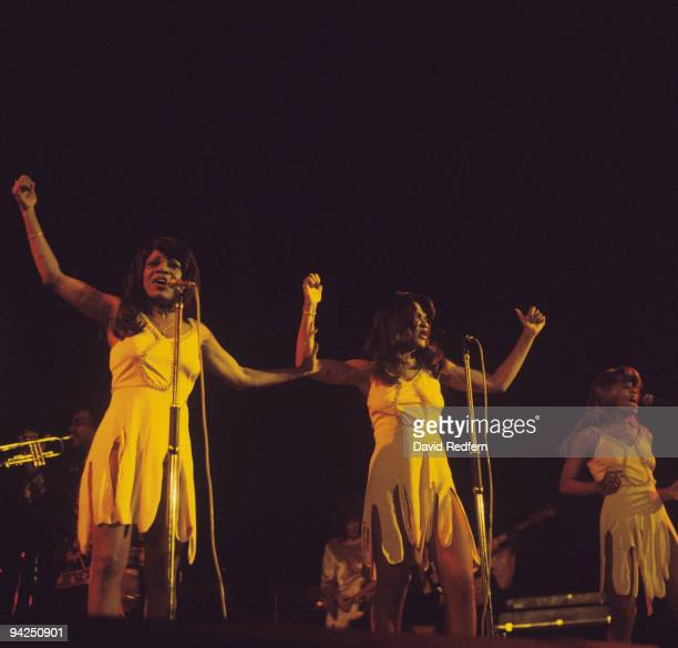The Ikettes the backing singers of Ike and Tina Turner perform on stage at the Hammersmith Odeon in London England in October 1975